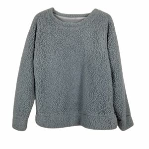 MUK LUKS Soft Faux Sherpa Fluffy Long Sleeve Pull Over Pj Top Size Medium Gray